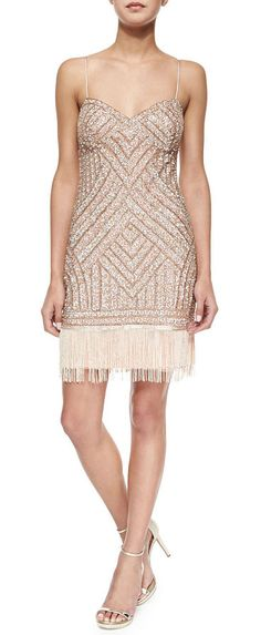 AIDAN MATTOX Beaded cocktail dress w/ fringe hem found on Nudevotion
