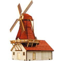 WINDMILL WOODEN MODEL KIT 3D HO scale 1/87 Wood Miniature Series Diorama DIY Toy