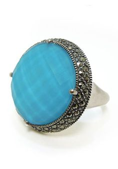 Sterling Silver, Crystal Turquoise & Marcasite Ring $139