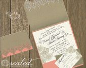 Marie Antoinette Wedding Invitation. $4.50, via Etsy.