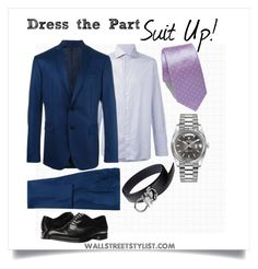 Dress the Part: Suit Up! by wallststylist on Polyvore featuring Ermenegildo Zegna, Versace, Emporio Armani, Rolex, ETON, men's fashion and menswear www.WallStreetStylist.com