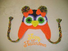 Halloween Crocheted Owl Hat Available in Any Size