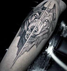 Divided Geometric Wolf Mens Leg Tattoos