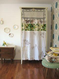 Vintage linens to shelf drapery