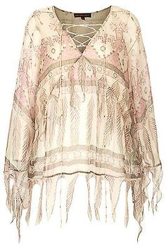 Tassel Feather Print Blouse by Kate Moss for Topshop