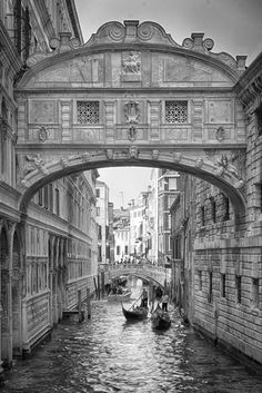 "Venice- the Bridge of Sighs: Legend has it that if lovers kiss under this bridge at sunset on a gondola, they will be in love forever. Anyone seen the movie ""A Little Romance?"""