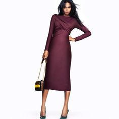 HDY Cheap Burgundy Modal Crossing Ruched Top Midi Pencil Gown - iDreamMart.com