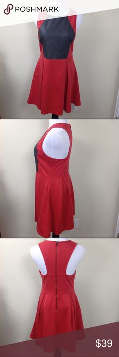 Esley Red & Vegan Leather Sleeveless Skater Dress Red and vegan leather skater dress with racer back and exposed zipper. Excellent condition. Thanks for your interest, please take a look at the rest of my closet! Esley Dresses