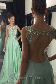 Open Back Prom Dresses, Aline Prom Dress, Long Evening Gowns, Green Party Dresses, Chiffon Formal Dresses