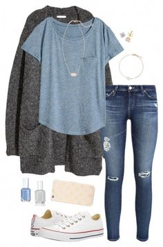 A fashion look from December 2017 featuring H&M t-shirts, H&M cardigans and AG Adriano Goldschmied jeans. Browse and shop related looks. Teen Fashion Outfits, Mode Outfits, Look Fashion, Autumn Fashion, Tween Fashion, Hm Outfits, Womens Fashion, Outfits Tipps, White Converse Outfits