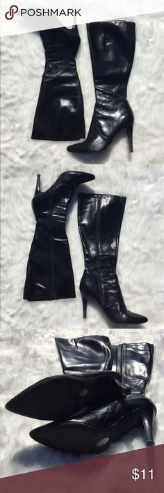 Cute faux leather black boots Faux leather. Size 8. True to its size.great condition. I'm selling the brown boots as well. Great bundle discount! Nine West Shoes Heeled Boots