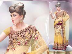 Enhancing Wedding Wear Ethic Embroidered Lehenga Saree/Sari