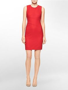 rib knit sleeveless sheath dress | Calvin Klein. NAM or USA system appropriate.