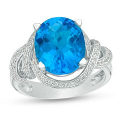 Sterling Silver x Oval Blue and White Topaz Frame Spiral Ring Make a grand entrance with this magnificent gemstone ring. Fashioned in sterling silver, this entrancing design features a divine x oval-shaped sky-blue topaz. Blue Topaz Stone, Blue Topaz Ring, White Topaz, Fashion Rings, Ring Designs, Sterling Silver Rings, Heart Ring, Gemstone Rings, Engagement Rings