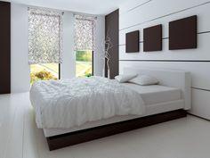 Blumenmuster Schlafzimmer Rollos Stoff weiß braun