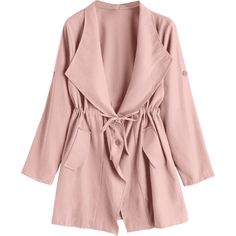 Button Up Belted Skirted Trench Coat Pink ($21) ❤ liked on Polyvore featuring outerwear, coats, jackets, pink coat, pink trenchcoat, button down coat, belted coats and button up coat