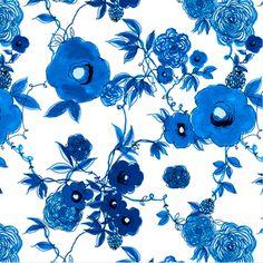 Designer: P & B Textiles House Designer Collection: True Blue Print Name: Floral in White
