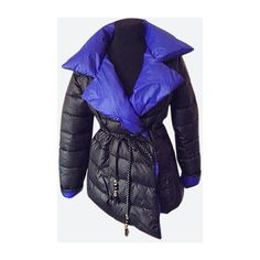 Yoins Blue Lapel Collar Selt Tie Belt Padded Coat (3.015 RUB) ❤ liked on Polyvore featuring outerwear and coats
