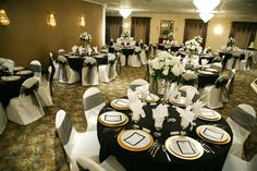 tables and chair covers for weddings | Black Table Linen with White Chair Covers & Black ... | Black Weddings