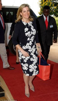The Countess of Wessex looked chic in a black floral dress as she arrived in Malawi for a ...