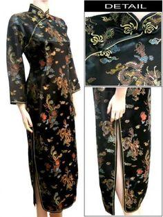 Traditional Orient Cheongsam Qipao Satin Long Cheongsam Vintage ... 3a65d000f92f