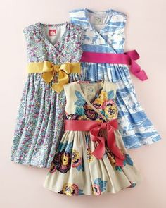 Love the bottom dress wit hthe coral sash.  Croquet Dress by Little Joule - Baby Girls & Girls
