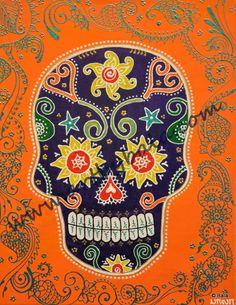 "Sugar Skull, 2014. 11"" x 14"", Textured henna style acrylics on canvas. © Bala Thiagarajan, 2014. www.artbybala.com"