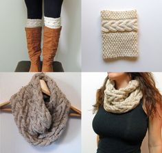 2 Knitting Pattern, Grace Cable Boot Cuffs Pattern, Cable Cowl Infinity Scarf Knitting Pattern - Digital PDF 2 Knitting Pattern -