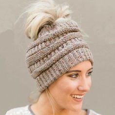 e6c263e0dd9 Beanietail Messy High Bun Ponytail Stretchy Knit Beanie Hats Skull Women Hat  Cap  ZENGCAI