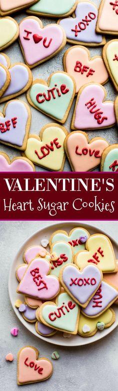 Decorated conversation heart sugar cookies for Valentine's Day! Recipe on http://sallysbakingaddiction.com