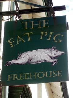 The Fat Pig pub in Exeter. Pub Logo, Storefront Signage, Uk Pub, Pub Design, British Pub, Fun Signs, Pub Crawl, Business Signs, Advertising Signs