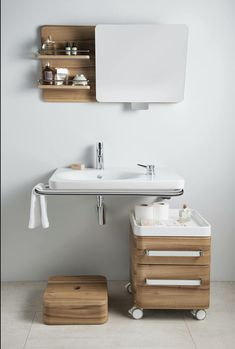 The VitrA Nest rolling cabinet unit and child step make sharing the bathroom with the whole family, even easier. Vitra Bathrooms, Bathroom Interior Design, Bathroom Furniture, Sink, Vanity, The Unit, Cabinet, Nest, Child