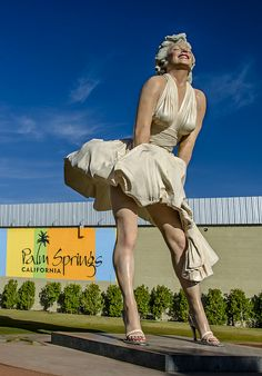 She is no longer in Palm Springs. I was able to see her befor she left.                                  Forever Marilyn in Palm Springs, California