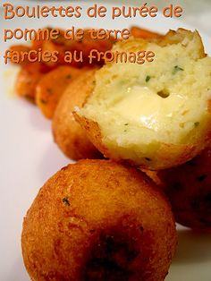 Potato Cheese balls. I think I know enough French to use this recipe! Boulettes de purée de pomme de terre farcies au fromage