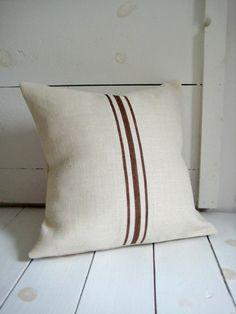 Brown Grainsack Striped Pillow / Brown Burlap by HomesteadBurlaps, $26.00