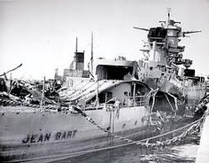 The Jean Bart showing considerable damage after exchanging gunfire with the United States battleship Massachusetts during Operation Torch.