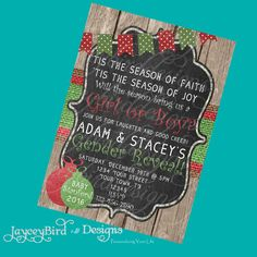 Personalized Burlap and Wood Christmas Holiday Gender Reveal Baby Shower Printable Party Invitation Invite 5x7 Digital by JayceyBirdDesigns on Etsy