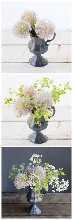 Make a bouquet with 'Millenium' allium lady's mantle and white garlic. Wedding Table Deco, Flower Arrangements Simple, Making A Bouquet, Flower Food, Diy Flowers, Flower Power, Floral Prints, Bloom, Design Inspiration