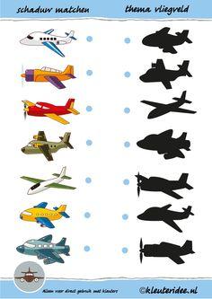 Vliegtuigen en hun schaduw matchen voor thema vliegveld, juf Petra van kleuteridee, shadow plane match, free printable.
