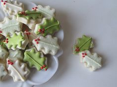 Miniature Pale Green & White Holly Leaf Cookies