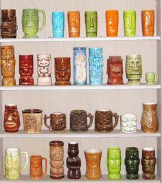 tiki-mukit, astiat ja kaikenlaiset koriste-esineet