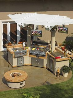 Outdoor kitchens are becoming much more fully functional. From refrigerators to side burners, flat-screen televisions to surround sound, this outdoor space is where all of the action happens. Photo courtesy of Cal Flame