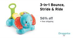 """Help me drop the price of the Fisher-Price 3-in-1 Elephant to $20.00 (56% off). The price continues dropping as more moms click """"Drop the price"""". Moms drop prices of kids & baby products by sharing them with each other."""