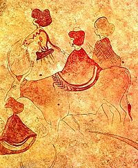 """Néolithique : détail de peintures rupestres du Tassili (Algérie) datant d'environ 3 000 ans ac JC.-- Passage du Paléolithique au Néolithique : """"Au début, tout pour le primitif, est naturel, et le surnaturel n'apparaît qu'avec le savoir"""". Mais la religion estompe l'art pour établir sa supériorité. C'est ce qui arriva au Néolithique, 6 000 ans après l'engloutissement, sous les eaux du déluge, de la civilisation du renne."""