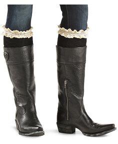 Blazin Roxx Black with Crocheted Lace Knee-High Socks