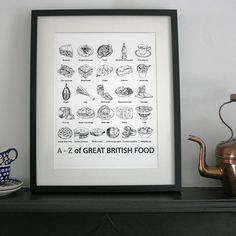 I've just found 'A To Z Of Great British Food' Print. Celebrate British food with this A to Z digital print! Jellied Eels, Seaside Pictures, Great British Food, Bangers And Mash, Have You Tried, Creative Business, Food Print, Personalized Gifts, Digital Prints