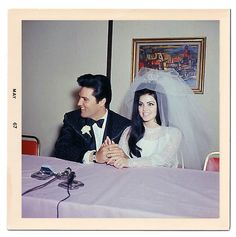 Mr. and Mrs. Elvis Presley at a press conference at the Aladdin hotel in Las Vegas, May 1, 1967.