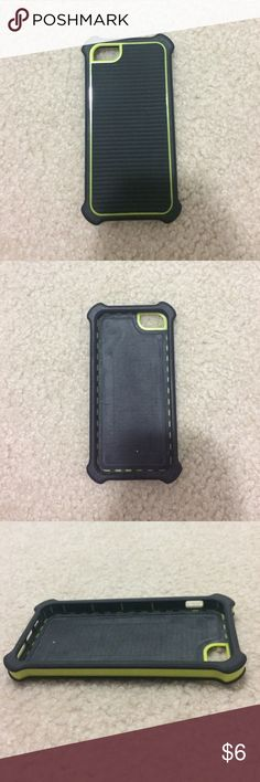 iPhone 5/5s Caselogic Case It is made with green plastic and black rubber. Emphasized corners to provide a shockproof affect. Is used but has very few signs of wear. Caselogic Accessories Phone Cases