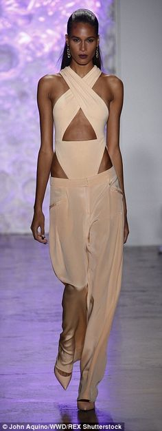 Pretty in peach: Designers Carly Cushnie and Michelle Ochs focused on a pretty palette of pale purple, mint and peach