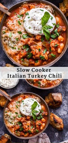 This Slow Cooker Italian Turkey Chili is perfect for Italian food lovers! All the components of traditional turkey chili but with Italian flair. It's an easy dinner the whole family will love! Chili Recipes, Slow Cooker Recipes, Crockpot Recipes, Soup Recipes, Chicken Recipes, Chicken Soup, Turkey Soup, Turkey Chili, Chili Chili